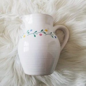 Pier 1 White Floral Ceramic Pitcher